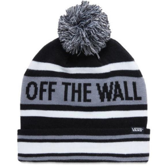 71116e562bc Vans Pom Cuff Beanie Black White Gray Mens Cap Hat